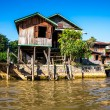 Stockfoto: Ancient houses and their reflection in water on Inle Lake, Myanmar