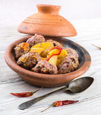 Dish moroccan meatballs with cap — Stockfoto