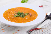 Soup of yellow lentils — Stock Photo