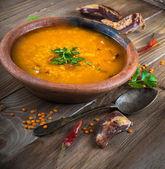 Soup of bulgur and lentils — Stock Photo