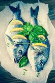 Fishes with lemon — Stockfoto