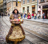 Old style seller in Lviv — Stock Photo