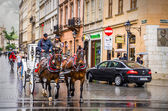 Horse carriage in Krakow — Stock Photo
