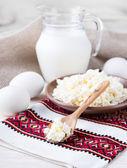 Lait, lait caillé et oeufs — Photo