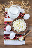 Milk, curd and eggs — Stock Photo