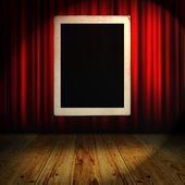Red curtain with vintage frame — Foto de Stock