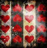 Czerwone serca na tle nieczysty — Zdjęcie stockowe
