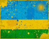 Bandera de ruanda grunge con manchas — Foto de Stock