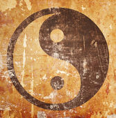 Yin yang symbol on grunge — Stock Photo