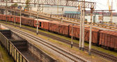 Freight cars in cargo port — 图库照片