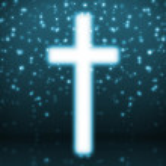 Cross on blue background — Stock Photo