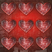 Abstract red hearts grunge background — Stock Photo