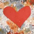 Stock Photo: Red heart on grunge background