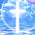 Cross appearing on sunrise sky — Stock Photo