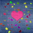 Color hearts on jeans — Stock fotografie