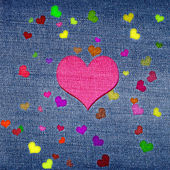 Color hearts on jeans — Zdjęcie stockowe