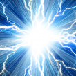 Electric flash of lightning on a blue background — Foto de Stock