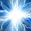 Electric flash of lightning on a blue background — Stock Photo