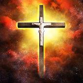 Cross Hangs in Sky — Stock Photo