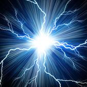 Digital backgroundElectric flash of lightning on a blue backgrou — Stock Photo