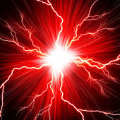 Electric flash of lightning on a red background — Stock Photo
