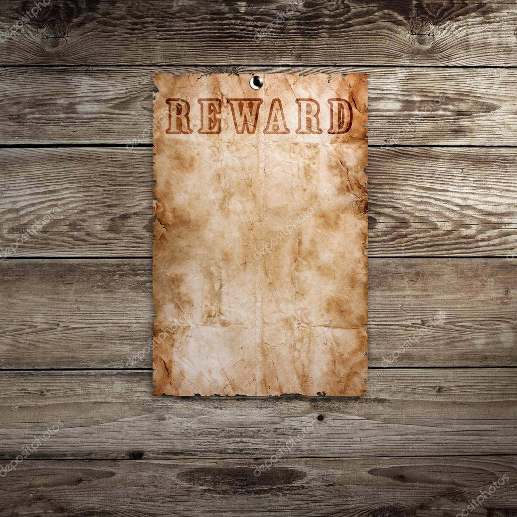 Old western wanted poster on wooden background — Stock Photo ...