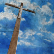 Cross on grunge background - Stock Photo