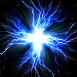 Digital backgroundElectric flash of lightning on a blue backgrou — Stock Photo