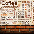 Sorts of coffee on brick wall background — Zdjęcie stockowe