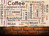 Sorts of coffee on brick wall background — Stock Photo