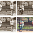 Stock Photo: Collage of four photos with young couple