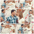Collage of photos with young couple against graffiti wall — Stok fotoğraf