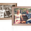 Two photo frames with young couple - Stock Photo