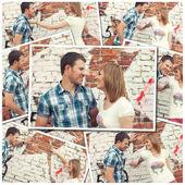 Collage aus fotos mit jungen paar gegen graffiti-wand — Stockfoto