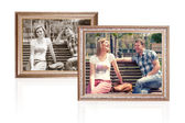 Two photo frames with young couple — Stock Photo