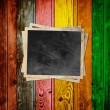 Blank Photo on Multicolored Wood Background — Photo