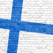 Grunge Finland flag on wall — 图库照片