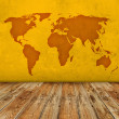 Grunge world map room — Stock Photo