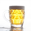 Frosty glass of light beer set isolated on a white background — Stock Photo