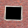 Photo frame on the brick wall  — Stock Photo