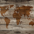Vintage map of wooden background — Stock Photo