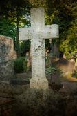 Une croix de marbre solitaire dans un cimetière — Photo