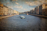 River channel with boats in Saint-Petersburg — Stock Photo