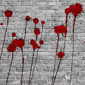 Red Paint Splashes on brick wall background — Stock Photo