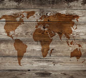 Vintage map of wooden background — Foto Stock