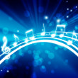 Stock Photo: Glowing background with musical notes