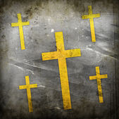 Cross on red grunge background — Stock Photo