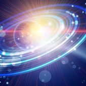 Planet with concentric rings in open space — Stock Photo