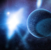 Planet among stars in deep space — Stock Photo
