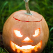 Stock Photo: Halloween jack-o-lantern on green grass